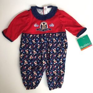 Vintage Healthtex Red & Navy Bunny Coverall NWT